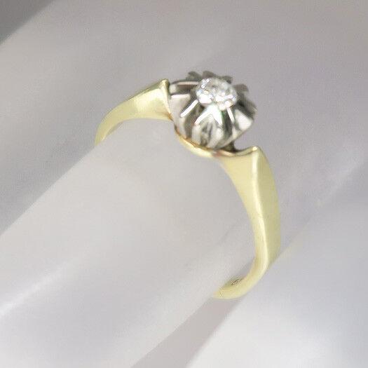 Antiker Solitärring Ring mit ca. 0,15ct W-si Brillant in 585 14K white- yellowgold