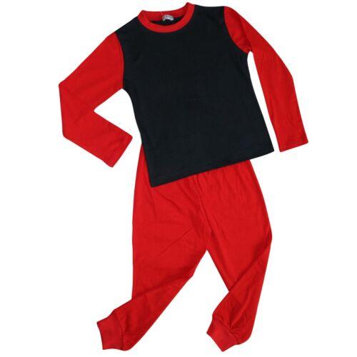 Bambini Ragazzi Ragazze Pjs contrasto colore rosso semplice elegante Pigiama Set Età 2-13 anni