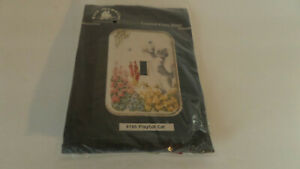 Fond Memories Counted Cross Stitch Kit Playful Cat Acrylic Switchplate -  NEW!!
