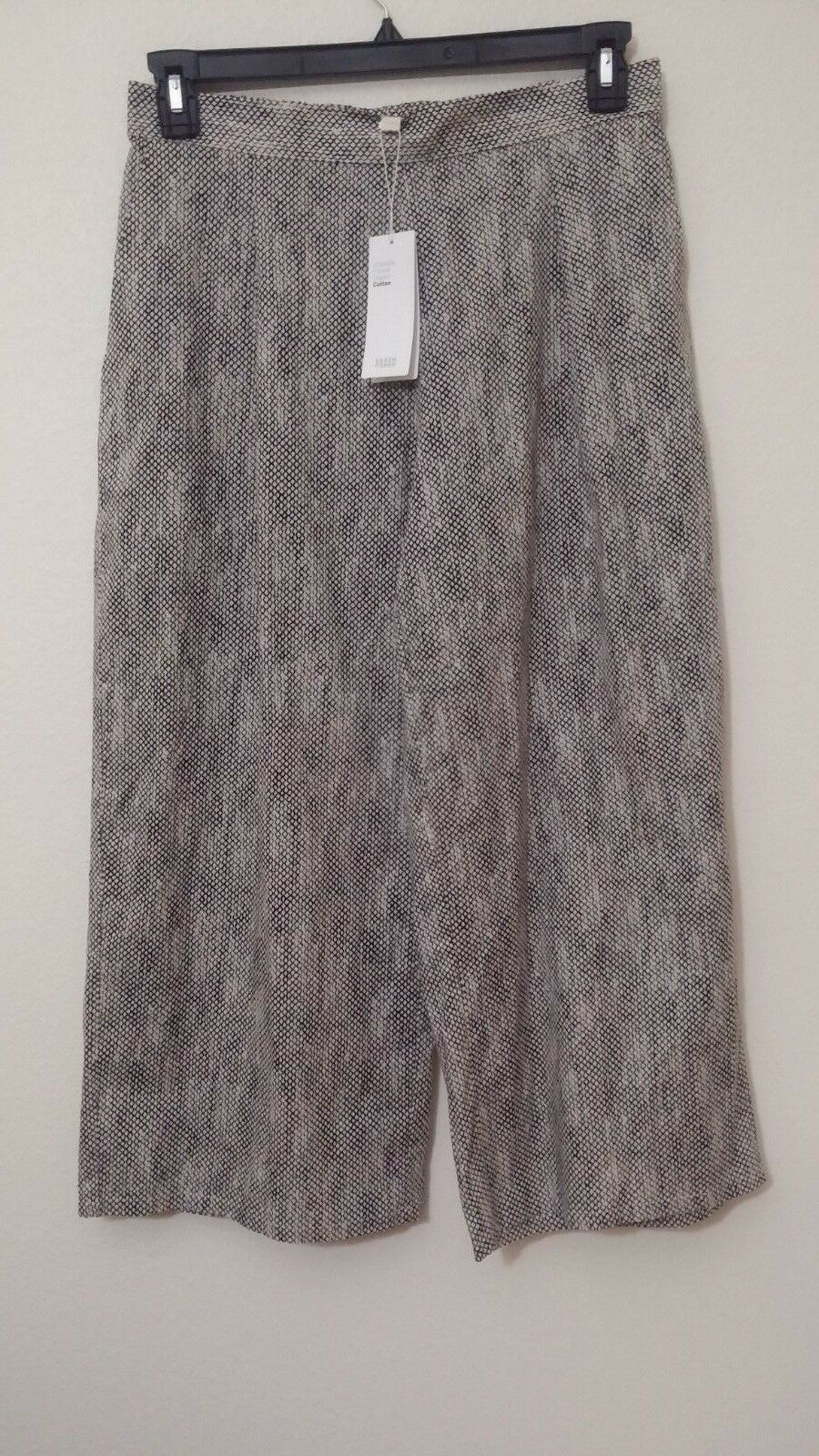 NWT Eileen Fisher Chainette Printed Organic Cotton Crop Wide Leg Pant Natural