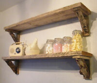 Reclaimed Rustic Thick and Chunky Wood Shelf Shelves with Driftwood Log Brackets