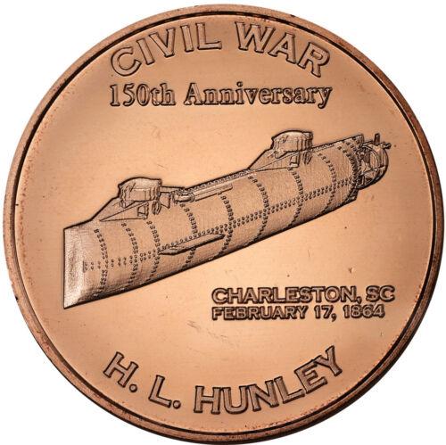 HUNLEY Bullion Rounds Lot # C89 20 1 OZ COPPER  CIVIL WAR SUBMARINE CSS H.L