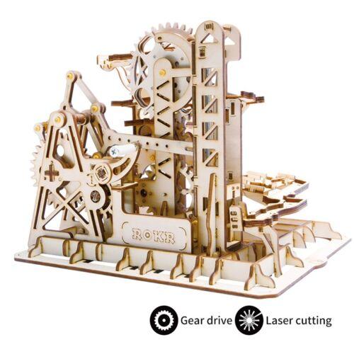 ROBOTIME Marble Roller Coaster Set DIY Model Building Kits 3D Wooden Puzzle Toy