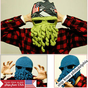 Unisex Octopus Winter Warm Knitted Wool Ski Face Mask Knit Hat Squid ... 8e4d0ff88c25