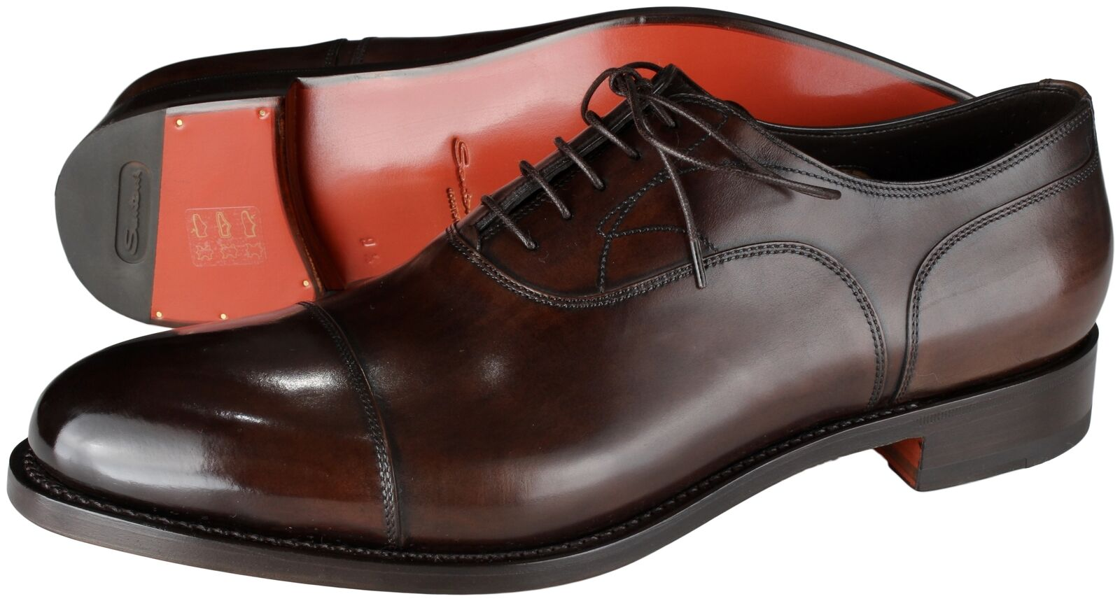 NWB SANTONI OXFORD GOODYEAR Scarpe dark brown crafted Italy