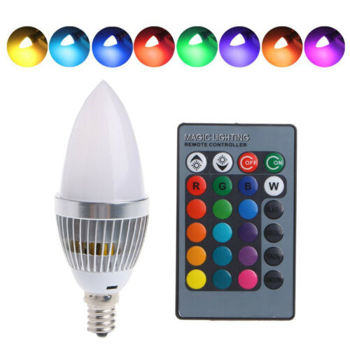3W RGB E12 E14 Candle LED Bulb Color Changing Candle Lights Lamp Remote Control