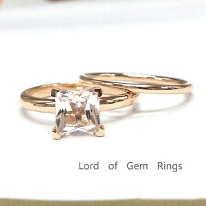 image is loading solitaire 7mm princess morganite wedding ring set 14k - Morganite Wedding Ring Set