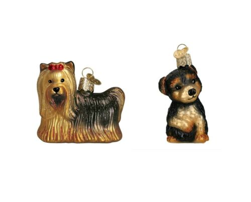 Yorkie Puppy 2-Pc Blown Glass Christmas Ornaments Details about  /Old World Christmas Yorkie