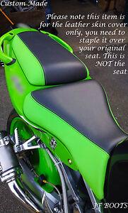 BLACK-amp-GREEN-CUSTOM-FITS-KAWASAKI-NINJA-ZX6R-98-03-FRONT-amp-REAR-BIKE-SEAT-COVERS