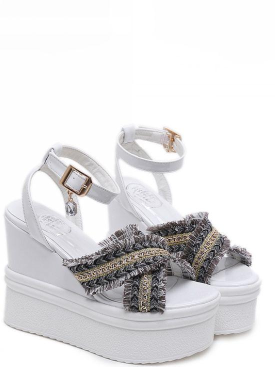 Sandali eleganti bassi  ciabatte bianco 12 cm 8397 platform comodi simil pelle 8397 cm 4349d6