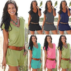 UK Womens Holiday Short Mini Playsuits Ladies Jumpsuit Summer Beach Mini Dress