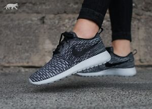 Details about NIKE ROSHE ONE FLYKNIT TRAINERS UK 7.5 EUR 42 COOL WOLF GREY  BLACK AIR MAX RACER