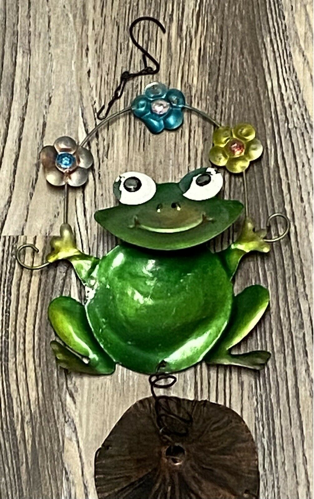 Green Frog Wind Chime, Flower Garden Lawn Outdoor whimsical Garden Home Decor