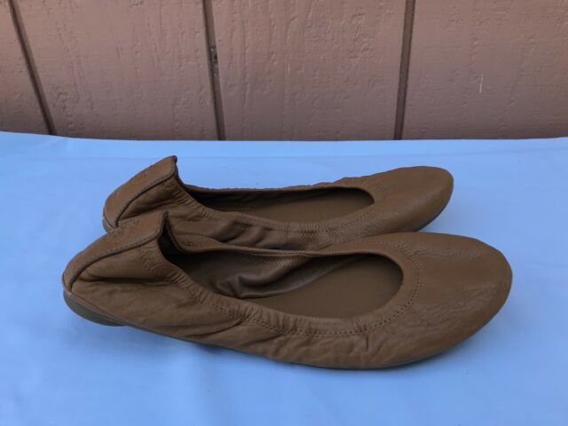f1e57389a145 EUC TORY BURCH EDDIE Women s Size US 9.5M Brown Leather Ballet Flats  220 A9