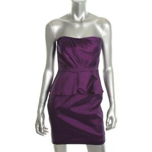 Evening Aqua Purple Pleated Strapless Party Prom Dress NEW Cocktail
