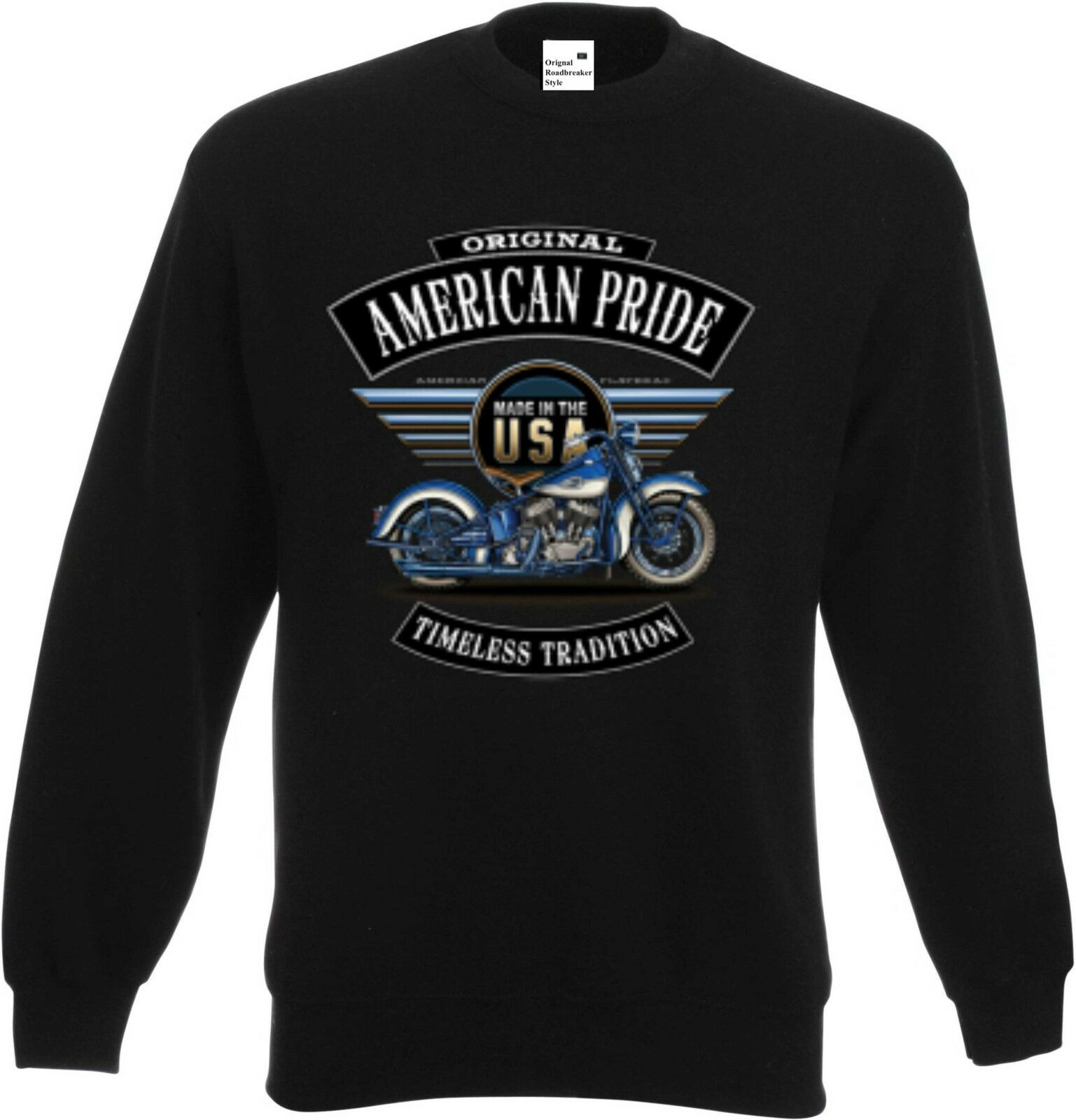 Sweatshirt black HD Biker Chopper-&Old Schoolmotiv Modell bluee Flatty