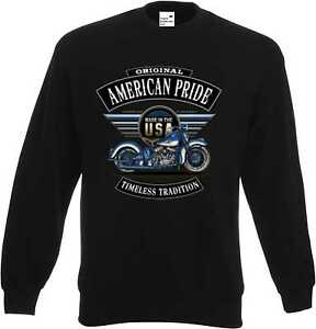 Sweatshirt-schwarz-HD-Biker-Chopper-amp-Old-Schoolmotiv-Modell-Blue-Flatty