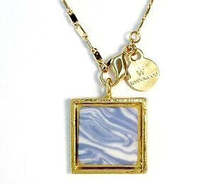 Wedgwood Square Jasperware Cameo On Pendant w//Gold Plated Wedgwood Chain