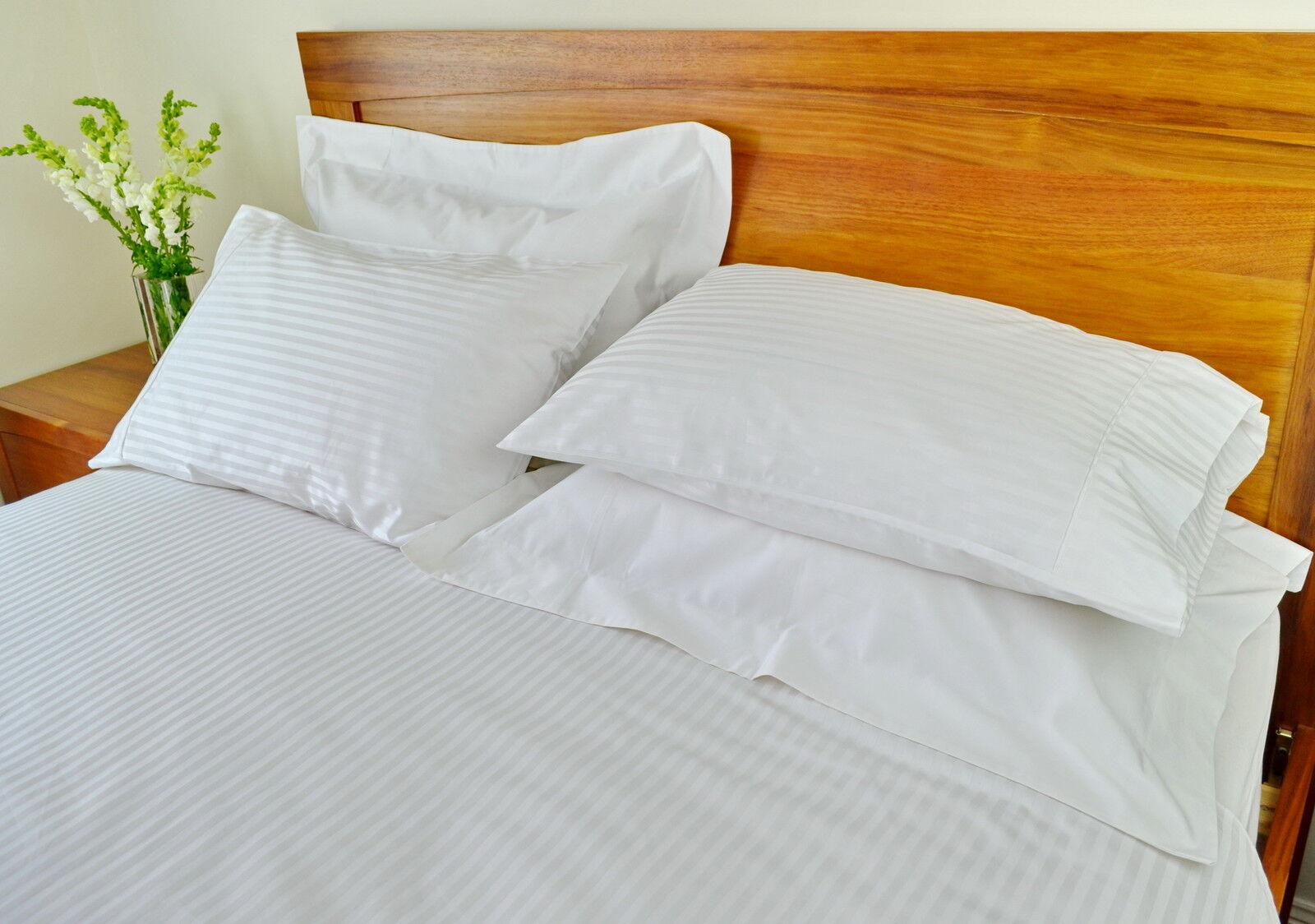 Double Bed Quilt Duvet Cover 1000TC 10cm2 Pure Cotton White Stripe