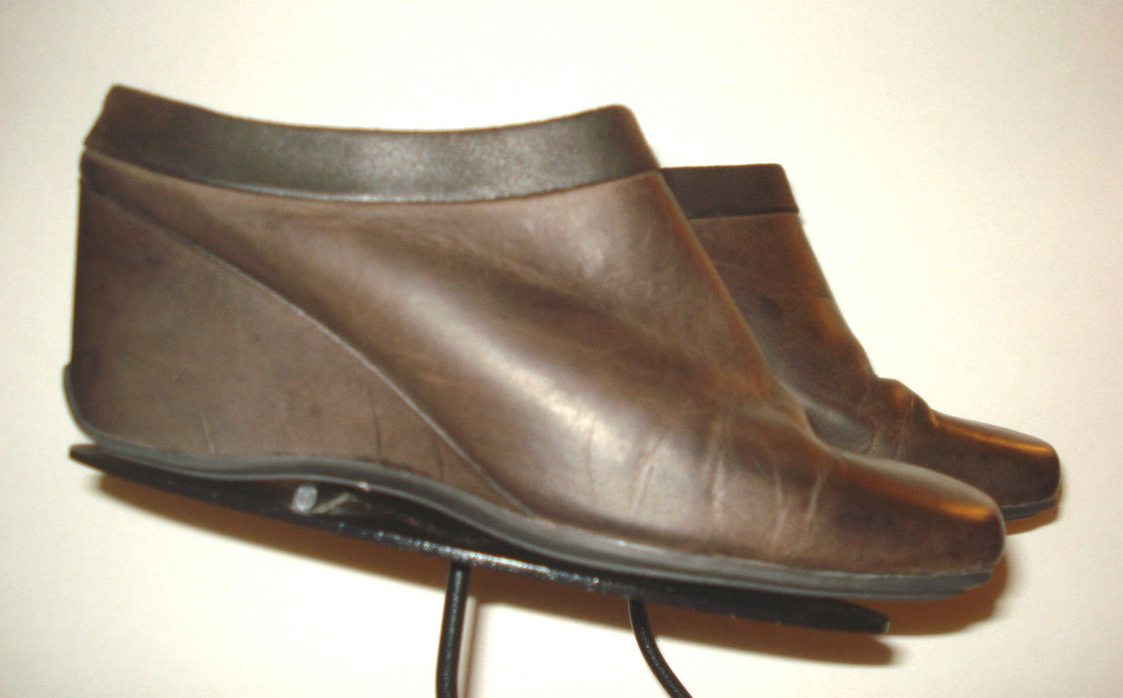 Women's Rockport Distressed Brown Leather Wedge Sz.9W EXCELLENT
