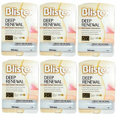 6 PACK Blistex Deep Renewal Lip Protectant, SPF 15, 0.15oz 041388002040DT