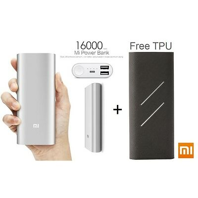 MI Power Bank 16000 mAh Xiaomi NDY-02-AL Charger for Apple Samsung With Free TPU