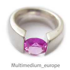 Silber Spann Ring synth. rosa Spinell sterling silver ring 925 pink spinel