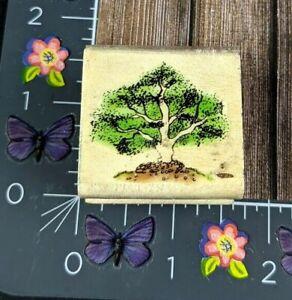 Sky Kids Tree Scene Rubber Stamp 1999 Wood Mount #B66