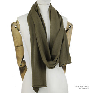 Michael-Kors-Khaki-Green-Finely-Knit-Pure-Cashmere-Long-Scarf