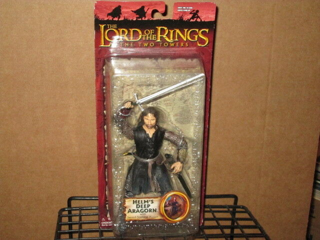 2003 LORD RINGS TWO TOWERS HELM'S DEEP ARAGORN SWORD SLASHING ACTION FIGURE MOC