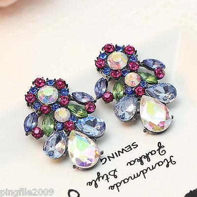 """Hot Handmade New Design Multi-Color Bling Rainbow Stud Earring 1 1/2"""" 314"""