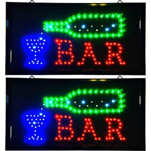 2 Bright LED Bar Tavern Saloon Pub Signs Neon Animated Lights Beer Bottle Liquor