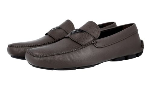 Chaussures 5 luxe Prada 5 Noir de 9 44 Logo 2dd131 Nouveau Saffiano Marron 43 rrIqv