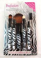 Profusion 5 Pcs Cosmetic Brush Set Kit - Eyebrow & Eye Shadow Brush Set - Zebra