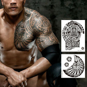 2 sheets extra large temporary tattoo similar the rock arm for Fake tattoos amazon