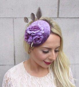 Lavender-Lilac-Purple-Rose-Flower-Feather-Pillbox-Hat-Fascinator-Hair-Clip-3812