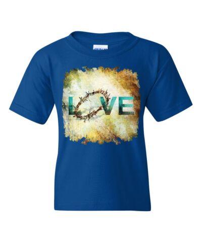 Love Crown of Thorns Youth T-Shirt Jesus Christ Sacrifice Cross Bible Kids Tee