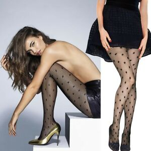 POLKADOT-Fine-FISHNET-Tights-PANTYHOSE-Black-NET-Polka-DOT-Pattern-FUN-Design