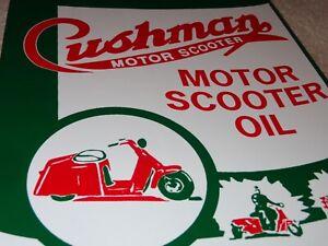 VINTAGE-034-CUSHMAN-MOTOR-SCOOTER-OIL-CAN-034-11-034-X-8-034-PORCELAIN-METAL-GASOLINE-SIGN
