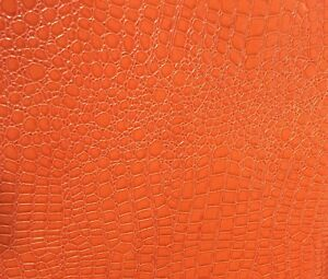 "54/"" Sold By The Yard White Soft Skin Crocodile Embossed Vinyl Fabric"