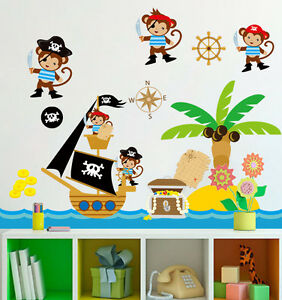 wandtattoo piraten ffchen wandaufkleber sticker kinderzimmer baby tapete deko ebay. Black Bedroom Furniture Sets. Home Design Ideas