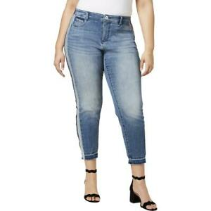 e9ff6e29129e INC Womens Blue Slim Tech Fit Ankle Straight Leg Jeans Plus 24W BHFO ...
