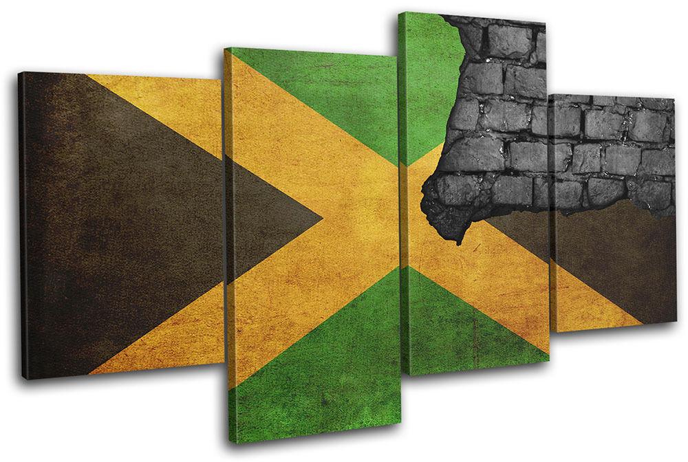 Jamaican Industrial Maps Flags MULTI TELA parete arte foto stampa stampa stampa 0cc44e