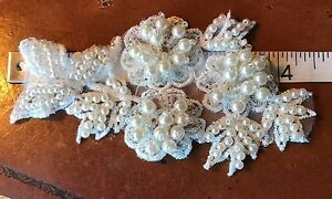 APPLIQUE-embroidered-Beads-2x4-5-034-PEARLS-FLOWERS-LEAVES-BRIDAL-SOFT-WHITE-1pc