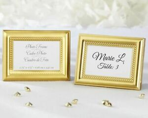 Beautifully Beaded Gold Photo Frames Placecard Holders Set of 12