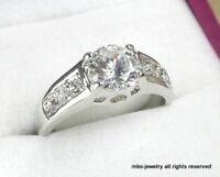 2.68Ct Brilliant Created Diamond 18K White Gold GP Solitaire Accents Ring