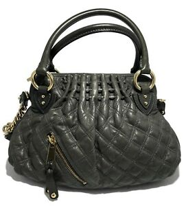 NEW-MARC-JACOBS-DARK-GRAY-QUILTED-LEATHER-HANDBAG-WITH-STRAP-1595