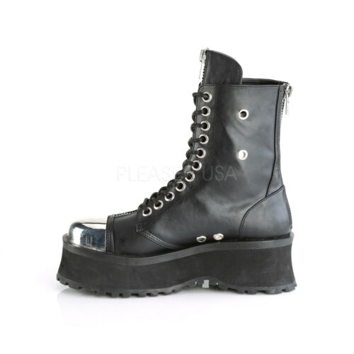 GRAVEDIGGER-10 MEN GOTH BIKER COMBAT  METAL TOE CAP LACE UP PLATFORM BOOT unisex