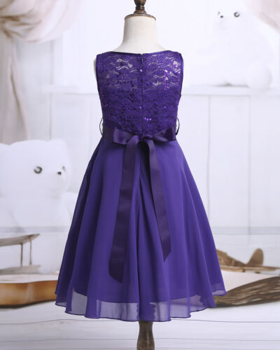 Flower Girl Dress Kids Princess Lace Chiffon Dresses Wedding Bridesmaid Party