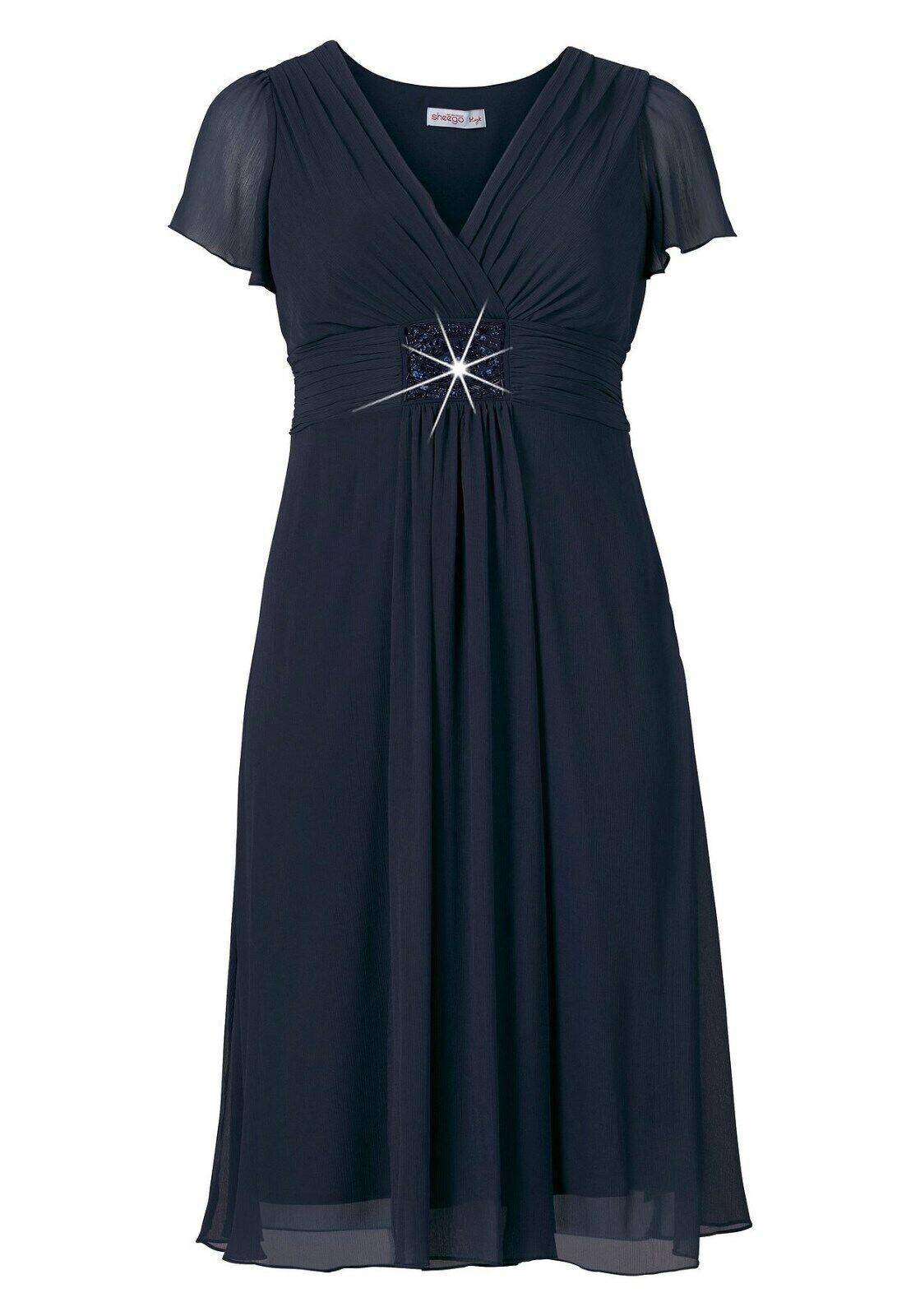 Sheego Cocktailkleid Gr. 50 Abendkleid Damenkleid Etuikleid Spitzenkleid Brosche